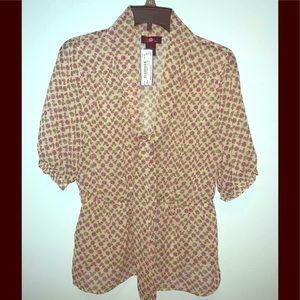 Ultra Flirt cute sheer blouse with squirrels Lg